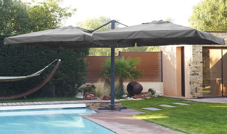 parasol d port double toile 3x3 m tres gris ibiza. Black Bedroom Furniture Sets. Home Design Ideas
