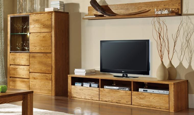 meuble tv en bois massif haut de gamme 3 tiroirs 3 niches. Black Bedroom Furniture Sets. Home Design Ideas