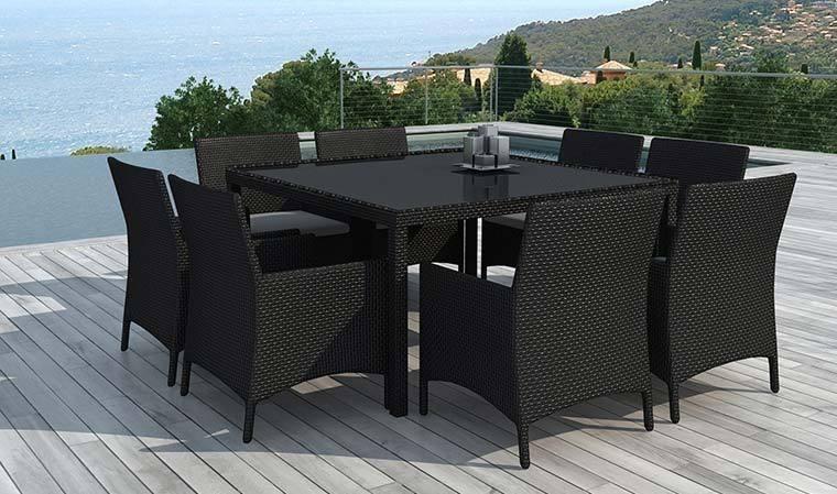 salon de jardin carr 8 places en r sine tress e noire. Black Bedroom Furniture Sets. Home Design Ideas