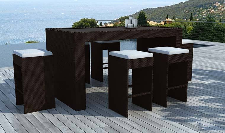 bar de jardin 6 tabourets en rsine tresse chocolat. Black Bedroom Furniture Sets. Home Design Ideas