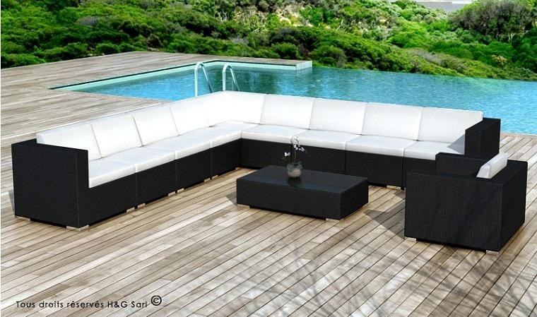 grand salon de jardin en r sine tress e noire design xxl. Black Bedroom Furniture Sets. Home Design Ideas