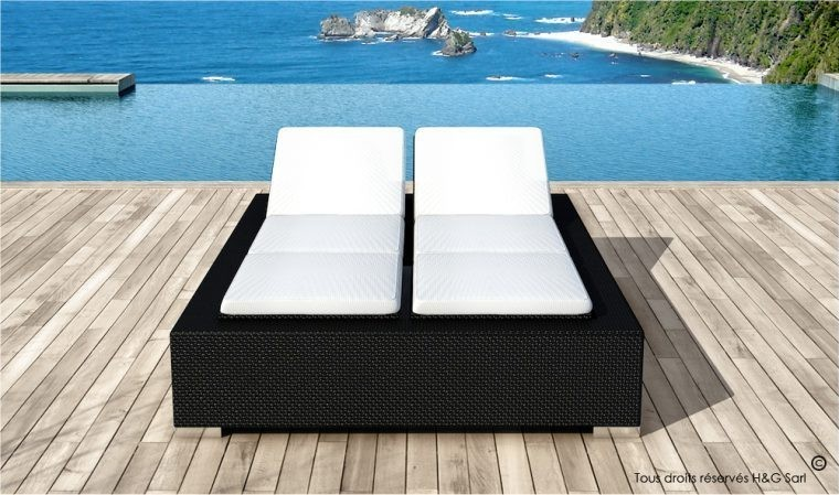 lit de piscine double 2 personnes en rsine tresse noire 5 positions. Black Bedroom Furniture Sets. Home Design Ideas