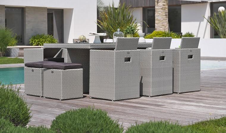 Salon de jardin encastrable design en r sine tress e grise 10 places - Salon de jardin coussins gris ...