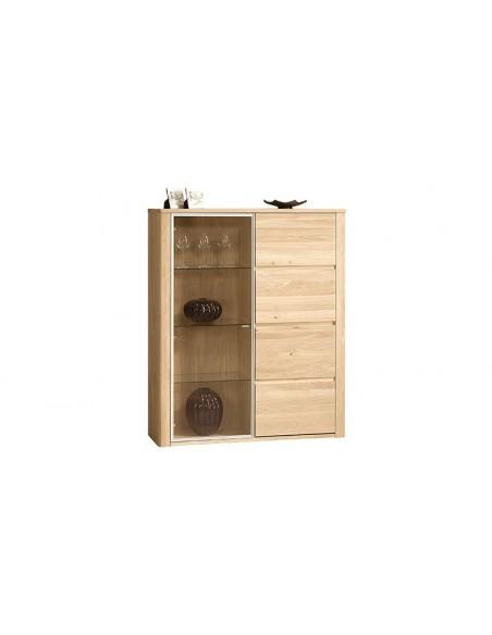 Vaisselier en bois 1 porte vitrée et 1 porte pleine