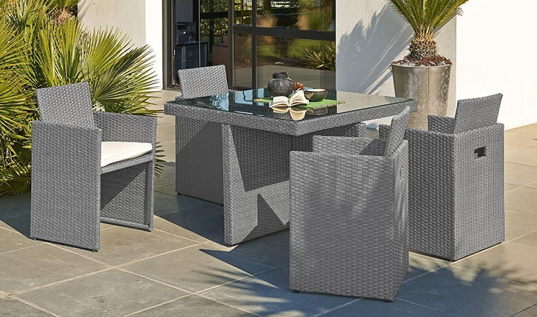 Salon de jardin encastrable 4 places en r sine tress e grise - Table de jardin encastrable ...
