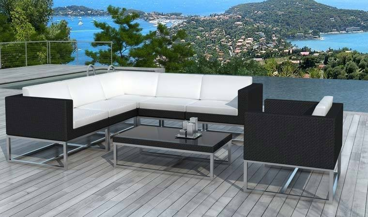 salon de jardin design en resine tressee noire 6 7 personnes zen. Black Bedroom Furniture Sets. Home Design Ideas