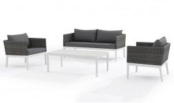 Salon bas de jardin blanc et gris