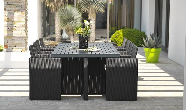 salon de jardin encastrable noir 8 places en alu et r sine. Black Bedroom Furniture Sets. Home Design Ideas