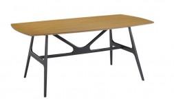 Table industrielle en bois et métal noir