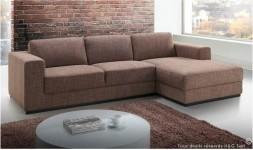 Canapé d'angle en tissu marron angle à droite