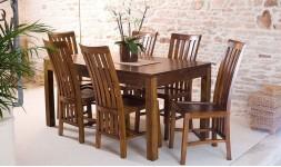 Table avec rallonge en bois exotique