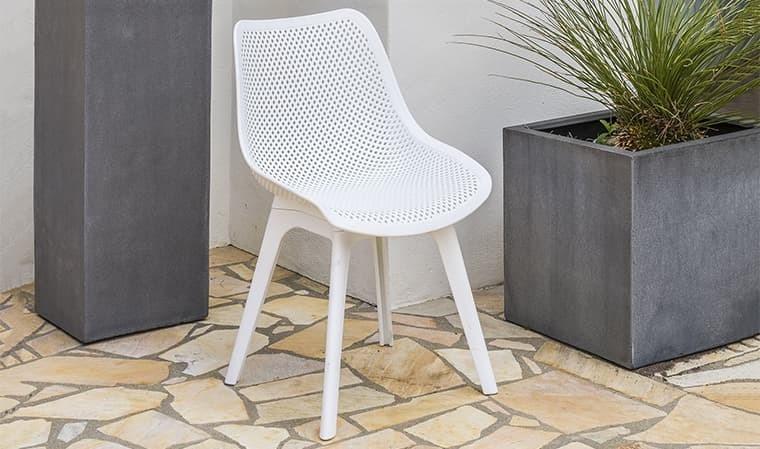 Chaise de jardin blanche en pvc design scandinave - Scandi