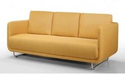 Canapé 3 places vintage en tissu jaune et acier brossé