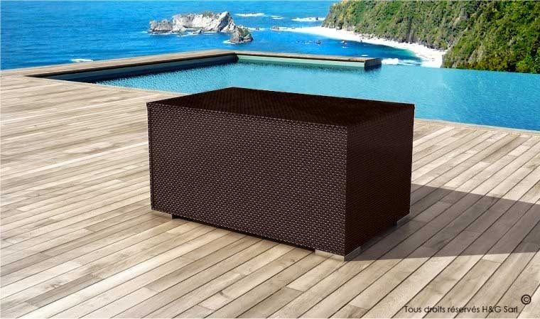 coffre de rangement jardin r sine tress e chocolat. Black Bedroom Furniture Sets. Home Design Ideas