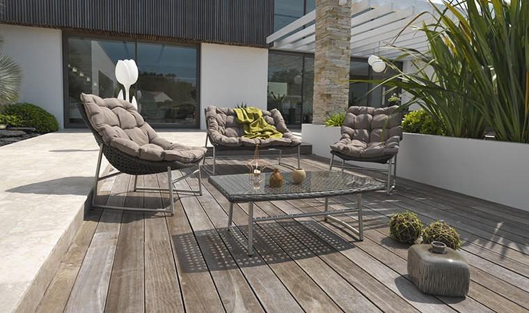 Salon bas de jardin design en inox et résine tressée marron ...