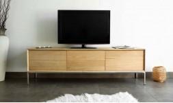 Meuble TV chêne massif et acier brossé