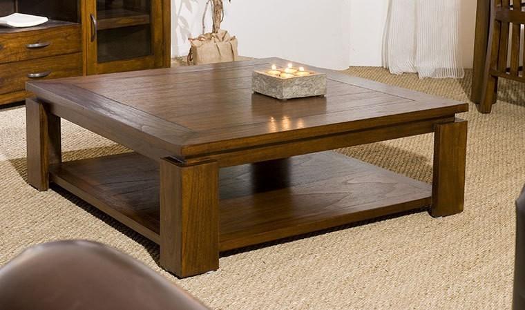 Table Basse Carree Contemporaine En Bois Massif 90 X 90 Cm