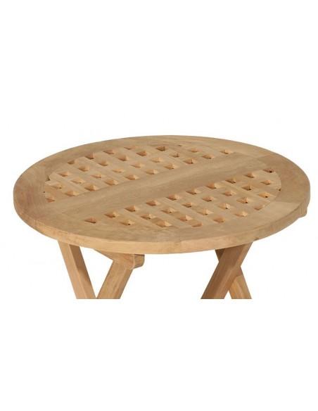 Table de jardin ronde pliante en teck