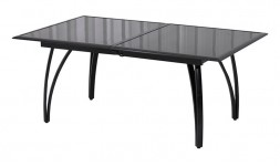 Table jardin noire extensible