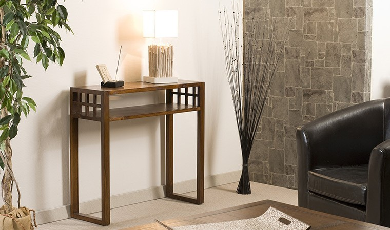 petite console d 39 entr e contemporaine en bois massif milo. Black Bedroom Furniture Sets. Home Design Ideas
