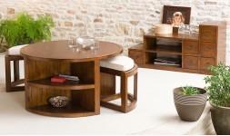 Table basse ronde avec tabourets