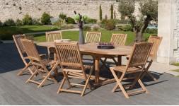 Salon de jardin ovale en bois teck massif brut 12 places haut de gamme