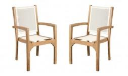 fauteuil teck et textilène blanc