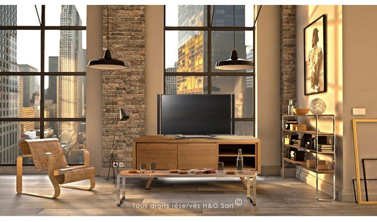 meuble tv en teck massif style vintage fiftees aston. Black Bedroom Furniture Sets. Home Design Ideas