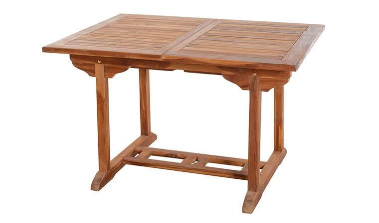 Table de jardin en teck huilé extensible et rectangulaire 4 à 6 places