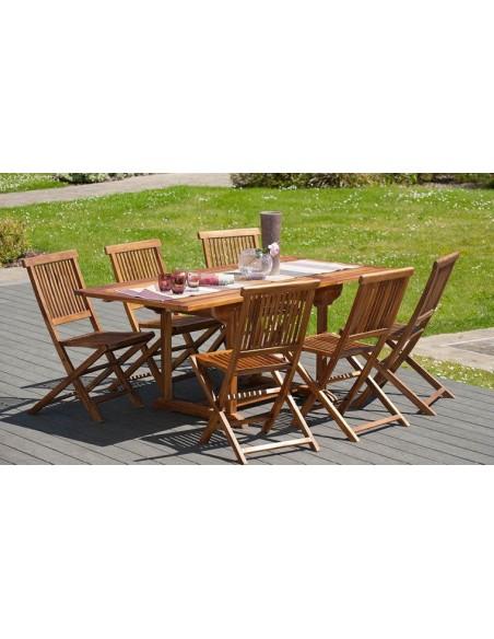 Salon de jardin en bois massif de teck avec chaises pliantes assorties