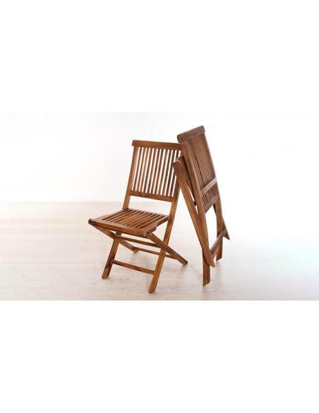 Table extensible et chaises pliantes en teck