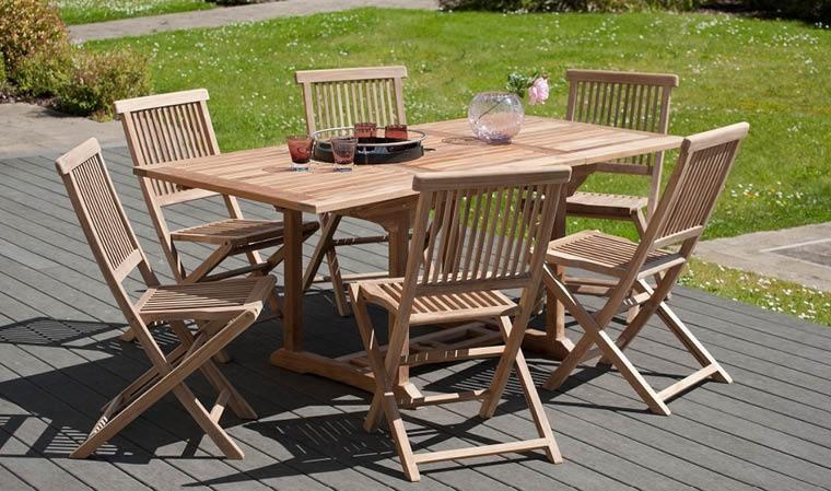 table de jardin à rallonge en bois de teck massif + 6 chaises pliantes