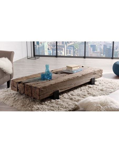Table basse poutre teck
