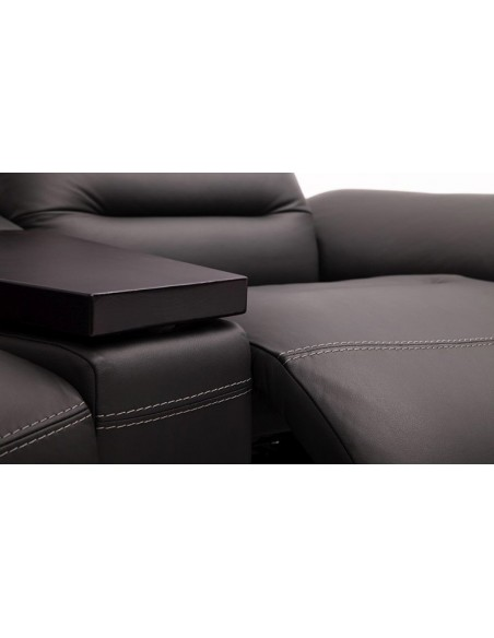 Canapé d'angle en cuir avec système audio Bluetooth