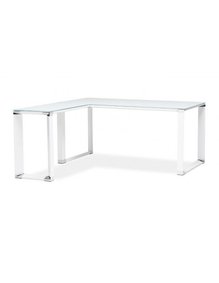 Bureau d'angle verre blanc