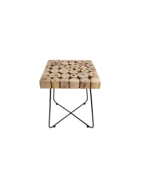 Table d'appoint rondins de teck