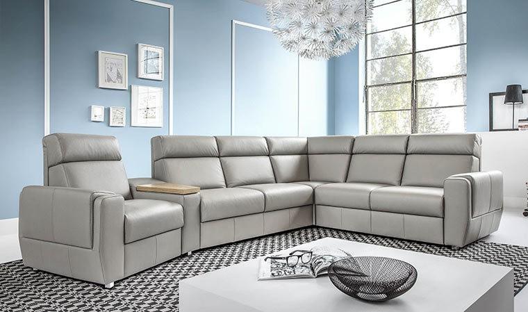 canap d 39 angle convertible en cuir avec fonction lectrique relax. Black Bedroom Furniture Sets. Home Design Ideas
