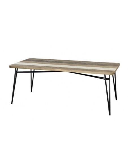 Table style atelier en bois massif et métal
