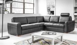 Canapé d'angle convertible design en cuir 5 places