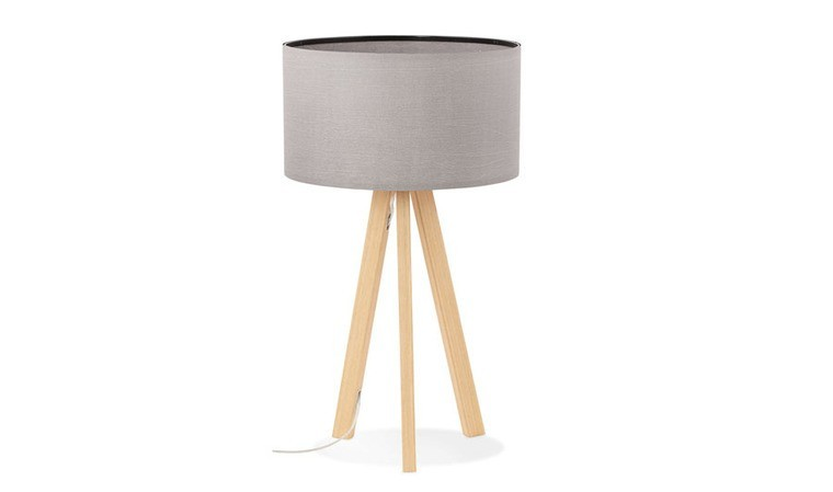 Lampe à poser tissu et bois