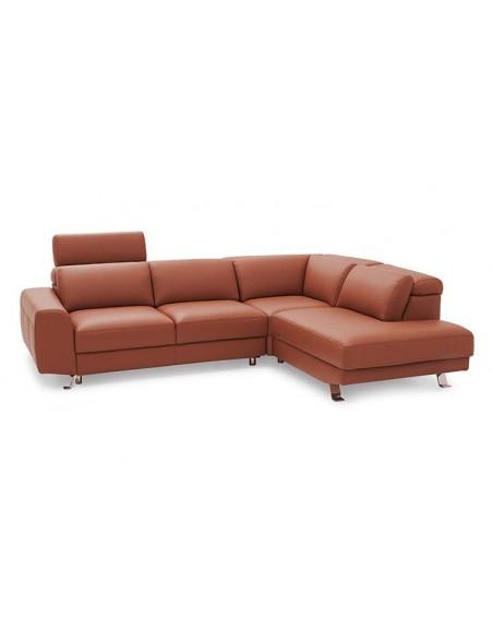 Canapé d'angle en cuir 3 / 4 places avec coffre rangement