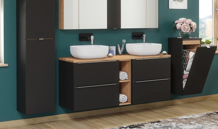 meuble suspendu noir 2 vasques