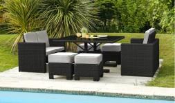 Salon jardin encastrable noir 8 places