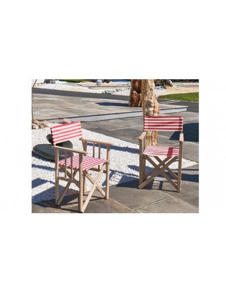 fauteuil jardin rayé rouge pliant