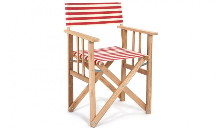 fauteuil jardin rayé rouge