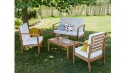 Salon de jardin bas en bois d'acacia