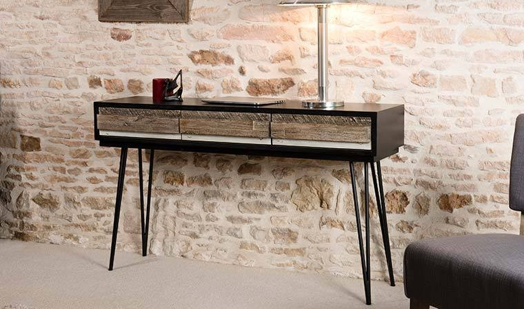 console vintage en bois massif et m tal. Black Bedroom Furniture Sets. Home Design Ideas