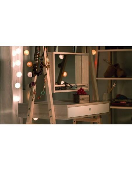 Coiffeuse miroir design blanc acacia