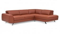 Canapé d'angle convertible en cuir d'Italie