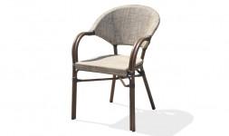 Lot fauteuils jardin alu marron